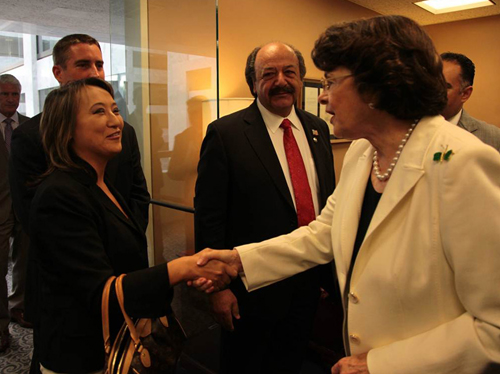 Mary with U.S. Senator Dianne Feinstein